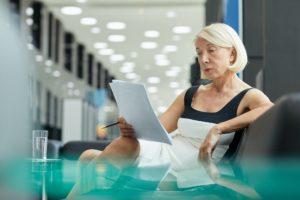 Businesswoman examining bond in maryland